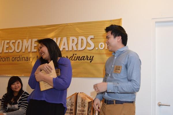 Tammy, cradling her award.