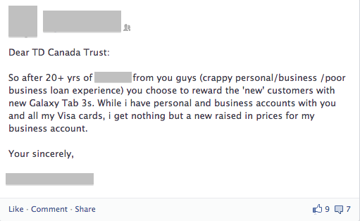 This Facebook post is a great example of what happens when companies reward new, rather than loyal, customers