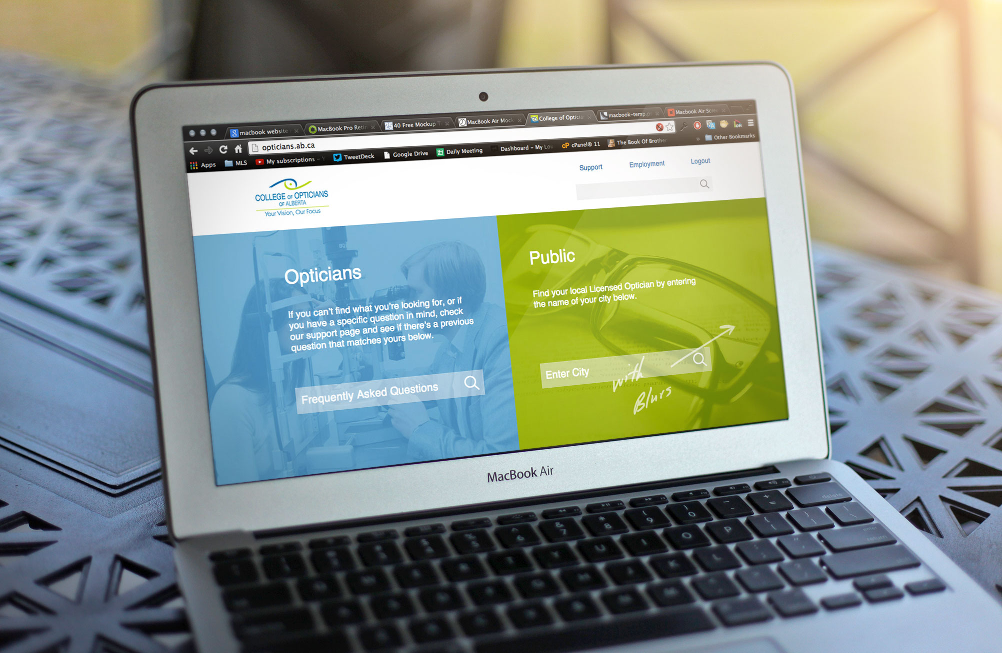 A website we developed for College of Opticians of Alberta: www.opticians.ab.ca